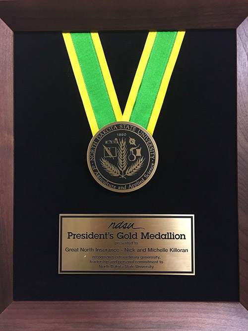 Great North Insurance awarded NDSU President's Gold Medallion